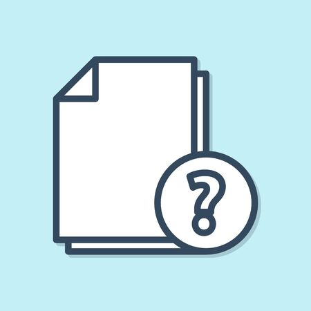 Blue line Unknown document icon isolated on blue background. File with Question mark. Hold report, service and global search sign. Vector Illustration Illustration