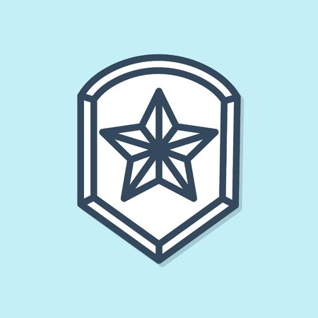 Blue line Police badge icon isolated on blue background. Sheriff badge sign. Shield with star symbol. Vector Illustration