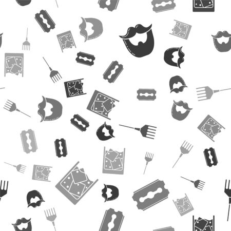 Set Mustache and beard, Blade razor, Hairbrush and Glass of whiskey and ice cubes on seamless pattern. Vector