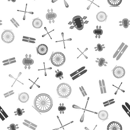 Set Knee pads, Crossed paddle, Ski and sticks and Bicycle wheel on seamless pattern. Vector Illustration