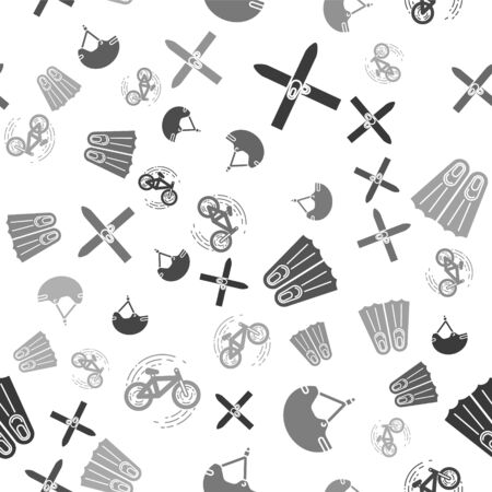 Set Ski and sticks, Helmet, Rubber flippers for swimming and Bicycle trick on seamless pattern. Vector