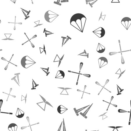 Set Parachute, Pegs for tents, Crossed paddle and Hang glider on seamless pattern. Vector
