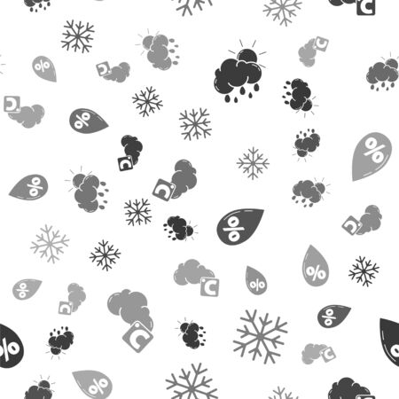 Set Cloud with rain and sun, Snowflake, Water drop percentage and Celsius and cloud on seamless pattern. Vector