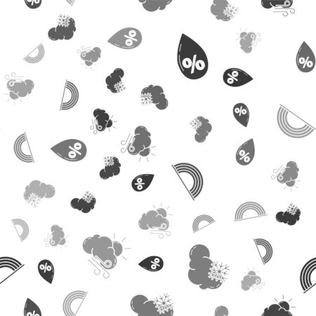 Set Water drop percentage, Cloud with snow, Rainbow with clouds and Windy weather on seamless pattern. Vector 向量圖像