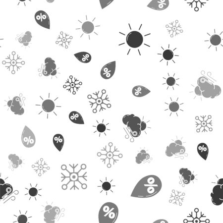 Set Sun, Water drop percentage, Windy weather and Snowflake on seamless pattern. Vector