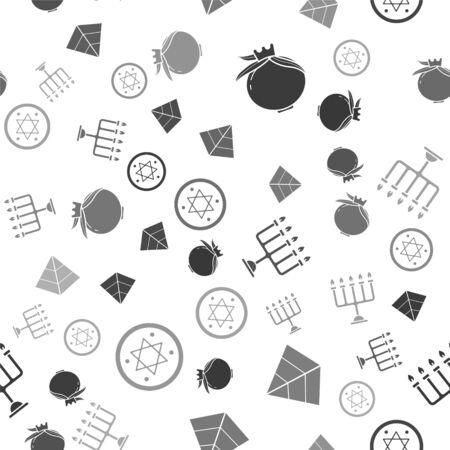 Set Pomegranate, Egypt pyramids, Hanukkah menorah and Jewish coin on seamless pattern. Vector