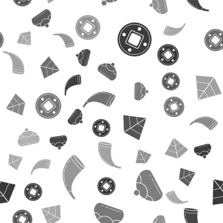 Set Jewish coin, Jewish sweet bakery, Egypt pyramids and Traditional ram horn, shofar on seamless pattern. Vector