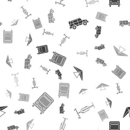 Set Off road car, Bicycle, Hang glider and Bus on seamless pattern. Vector