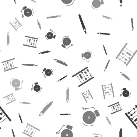 Set Pen, Ringing alarm bell, Abacus and Pen on seamless pattern. Vector Stock Illustratie