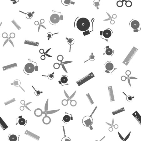 Set Ringing alarm bell, Magnifying glass, Ruler and Scissors on seamless pattern. Vector Ilustracja