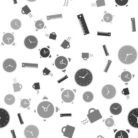 Set Ruler, Coffee cup, Clock and Alarm clock on seamless pattern. Vector