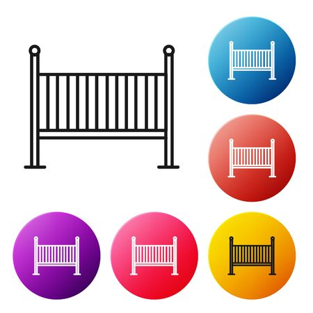 Black line Baby crib cradle bed icon isolated on white background. Set icons colorful circle buttons. Vector Illustration Illusztráció