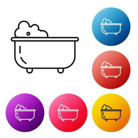 Black line Baby bathtub with foam bubbles inside icon isolated on white background. Set icons colorful circle buttons. Vector Illustration
