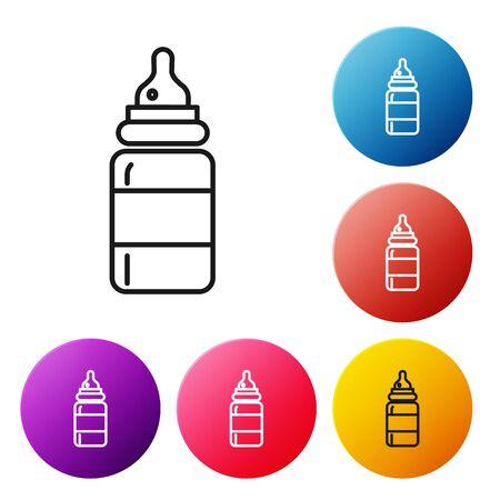 Black line Baby bottle icon isolated on white background. Feeding bottle icon. Milk bottle sign. Set icons colorful circle buttons. Vector Illustration