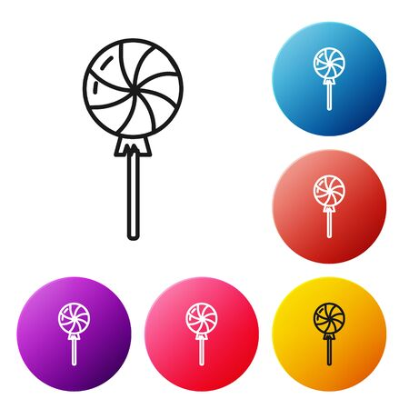 Black line Lollipop icon isolated on white background. Candy sign. Food, delicious symbol. Set icons colorful circle buttons. Vector Illustration Çizim