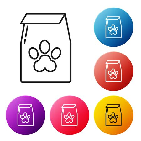 Black line Bag of food for pet icon isolated on white background. Food for animals. Pet food package. Dog or cat paw print. Set icons colorful circle buttons. Vector Illustration