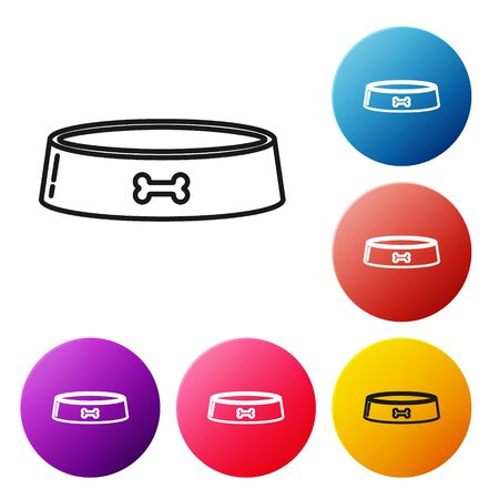 Black line Pet food bowl for cat or dog icon isolated on white background. Dog bone sign. Set icons colorful circle buttons. Vector Illustration