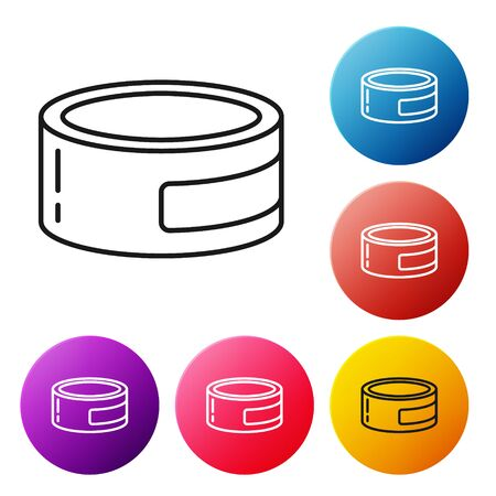 Black line Canned food icon isolated on white background. Food for animals. Pet food can. Set icons colorful circle buttons. Vector Illustration
