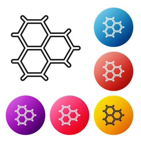 Black line Chemical formula consisting of benzene rings icon isolated on white background. Set icons colorful circle buttons. Vector Illustration