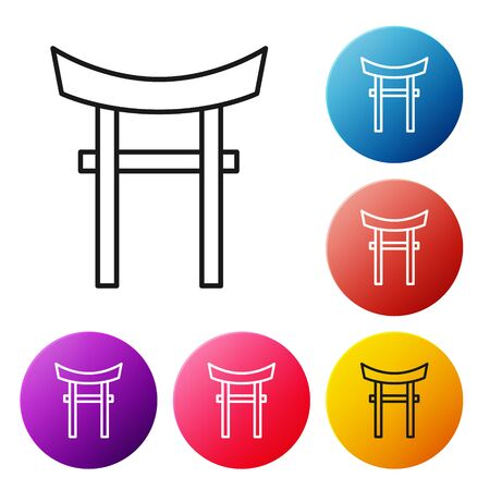Black line Japan Gate icon isolated on white background. Torii gate sign. Japanese traditional classic gate symbol. Set icons colorful circle buttons. Vector Illustration 向量圖像
