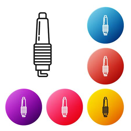 Black line Car spark plug icon isolated on white background. Car electric candle. Set icons colorful circle buttons. Vector Illustration