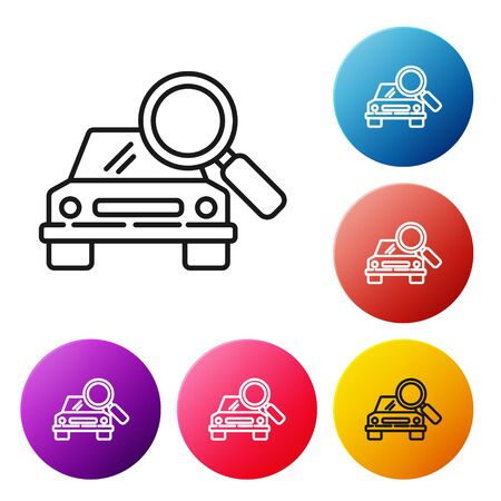 Black line Car search icon isolated on white background. Magnifying glass with car. Set icons colorful circle buttons. Vector Illustration