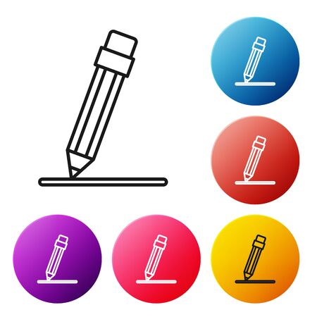 Black line Pencil with eraser and line icon isolated on white background. Education sign. Drawing and educational tools. Set icons colorful circle buttons. Vector Illustration