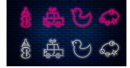 Set line Toy car, Rubber duck, Baby bottle and Rattle baby toy. Glowing neon icon on brick wall. Vector Иллюстрация