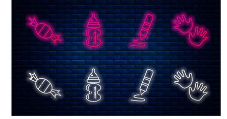 Set line Baby bottle, Wax crayon for drawing, Candy and Baby hands print. Glowing neon icon on brick wall. Vector Иллюстрация