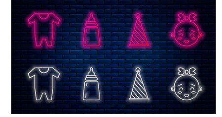 Set line Baby bottle, Party hat, Baby clothes and Happy little girl head. Glowing neon icon on brick wall. Vector