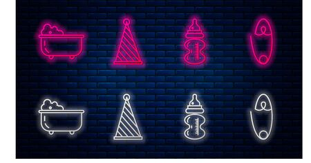 Set line Party hat, Baby bottle, Baby bathtub and Classic steel safety pin. Glowing neon icon on brick wall. Vector Иллюстрация