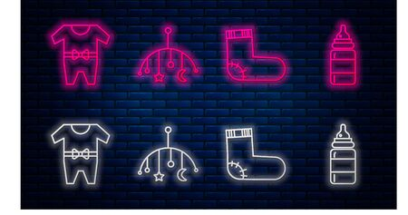 Set line Baby crib hanging toys, Baby socks clothes, Baby clothes and Baby bottle. Glowing neon icon on brick wall. Vector Иллюстрация