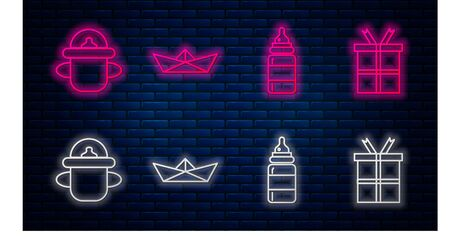 Set line Folded paper boat, Baby bottle, Baby bottle and Gift box. Glowing neon icon on brick wall. Vector