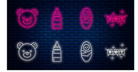 Set line Baby bottle, Newborn baby infant swaddled, Teddy bear plush toy and Carnival garland with flags. Glowing neon icon on brick wall. Vector