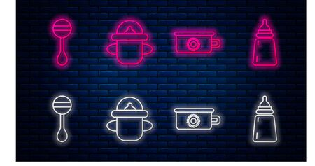 Set line Baby bottle, Baby potty, Rattle baby toy and Baby bottle. Glowing neon icon on brick wall. Vector