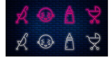 Set line Happy little boy head, Baby bottle, Baby stroller and Baby stroller. Glowing neon icon on brick wall. Vector