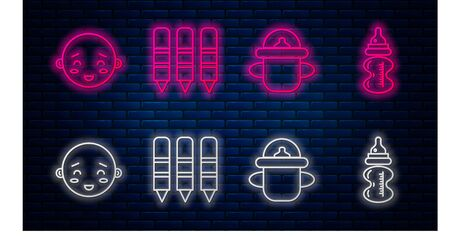 Set line Wax crayons for drawing, Baby bottle, Happy little boy head and Baby bottle. Glowing neon icon on brick wall. Vector