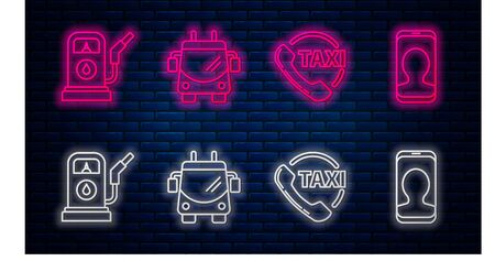 Set line Trolleybus, Taxi call telephone service, Petrol or Gas station and Taxi call telephone service. Glowing neon icon on brick wall. Vector