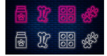 Set line Dog bone, Dog and pills, Bag of food for pet and Paw print. Glowing neon icon on brick wall. Vector