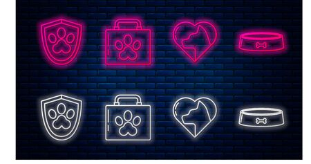 Set line Pet first aid kit, Heart with cat, Animal health insurance and Pet food bowl. Glowing neon icon on brick wall. Vector