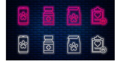 Set line Dog medicine bottle and pills, Bag of food for pet, Online veterinary clinic symbol and Clipboard with medical clinical record pet. Glowing neon icon on brick wall. Vector Иллюстрация