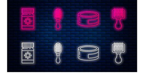 Set line Hair brush for dog and cat, Canned food, Dog medicine bottle and pills and Hair brush for dog and cat. Glowing neon icon on brick wall. Vector Иллюстрация