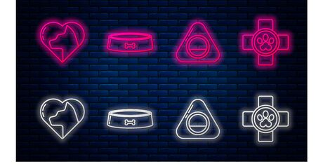 Set line Pet food bowl, Pet bed, Heart with cat and Veterinary clinic symbol. Glowing neon icon on brick wall. Vector