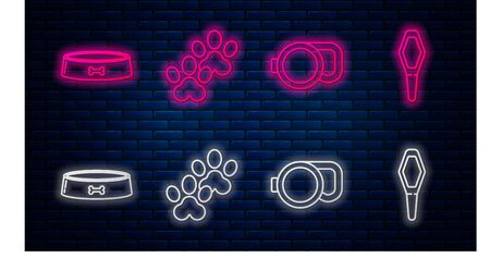 Set line Paw print, Retractable cord leash, Pet food bowl and Pets vial medical. Glowing neon icon on brick wall. Vector