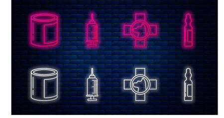 Set line Syringe with pet vaccine, Veterinary clinic symbol, Canned food and Pets vial medical. Glowing neon icon on brick wall. Vector Vettoriali