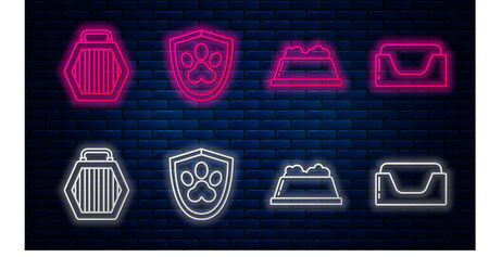 Set line Animal health insurance, Pet food bowl, Pet carry case and Pet bed. Glowing neon icon on brick wall. Vector
