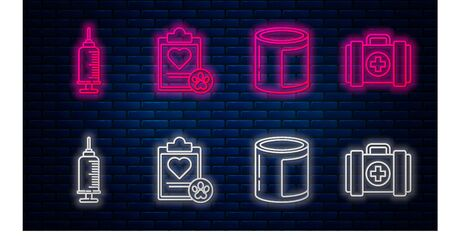 Set line Clipboard with medical clinical record pet, Canned food, Syringe with pet vaccine and Pet first aid kit. Glowing neon icon on brick wall. Vector