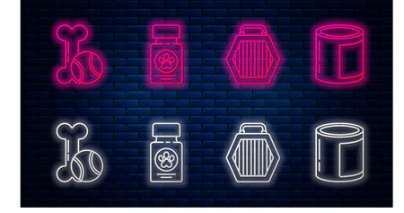 Set line Dog medicine bottle and pills, Pet carry case, Pet toys bone rubber and ball and Canned food. Glowing neon icon on brick wall. Vector