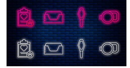 Set line Pet bed, Pets vial medical, Clipboard with medical clinical record pet and Retractable cord leash. Glowing neon icon on brick wall. Vector