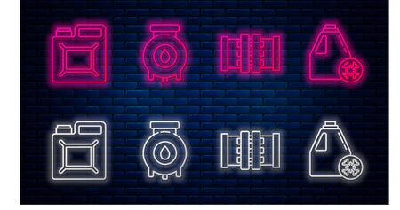 Set line Oil and gas industrial factory building, Industry metallic pipes and valve, Canister for gasoline and Antifreeze canister. Glowing neon icon on brick wall. Vector